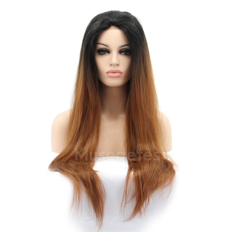 Ombre Brown Straight Synthetic Lace Front Wig HS0001