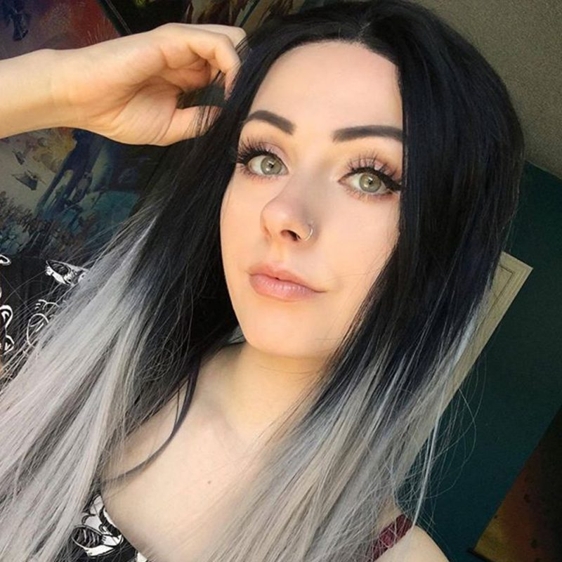 Ombre Silver Synthetic Lace Front Wig HS0003