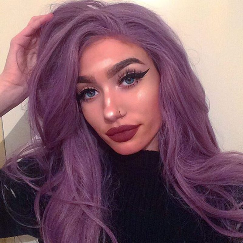 Mixed Purple Wavy Synthetic Lace Front Wigs HS0035