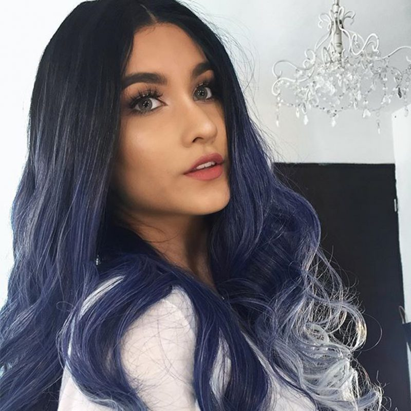 Musegetes Ombre Light Blue Wavy Synthetic Lace Front Wigs HS2007