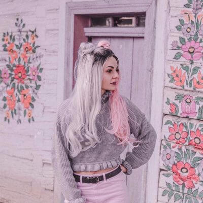 Musegetes Ombre Silver and Pink Synthetic Lace Front Wigs HS2025