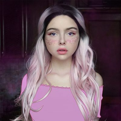 Musegetes Ombre Pink Wavy Synthetic Lace Front Wigs HS3006