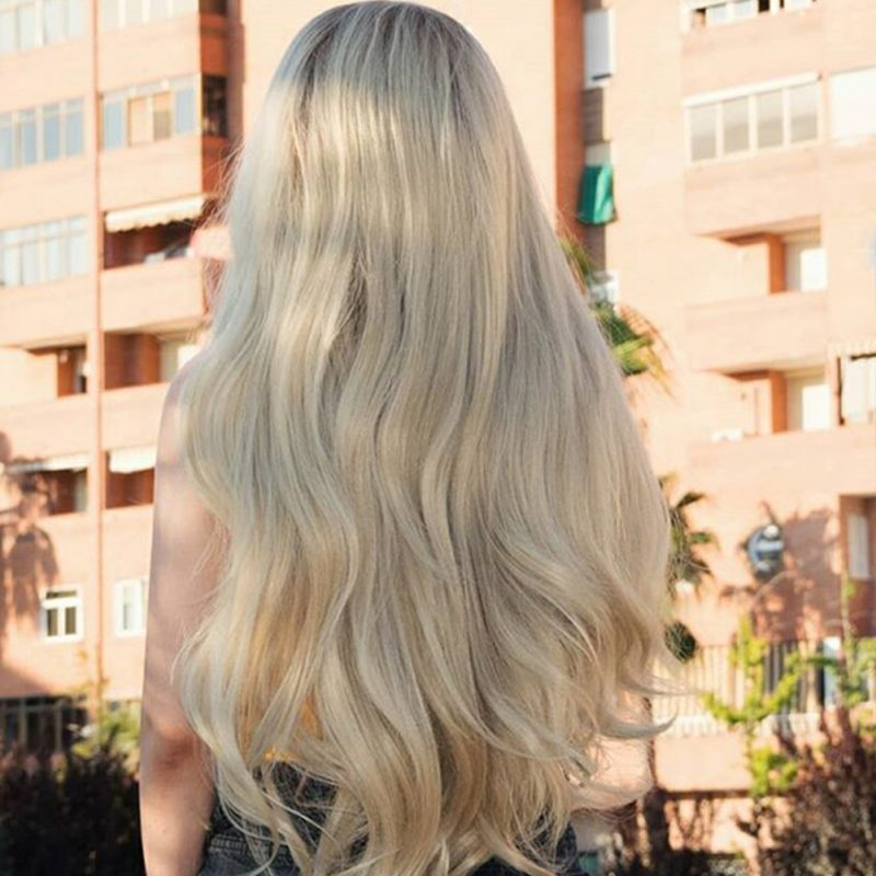Musegetes Ombre Blonde Wavy Synthetic Lace Front Wigs HS3009