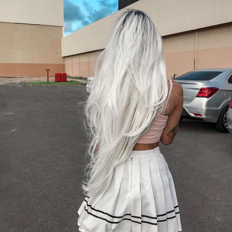 Ombre White Blonde Straight Synthetic Lace Front Wigs HS3041