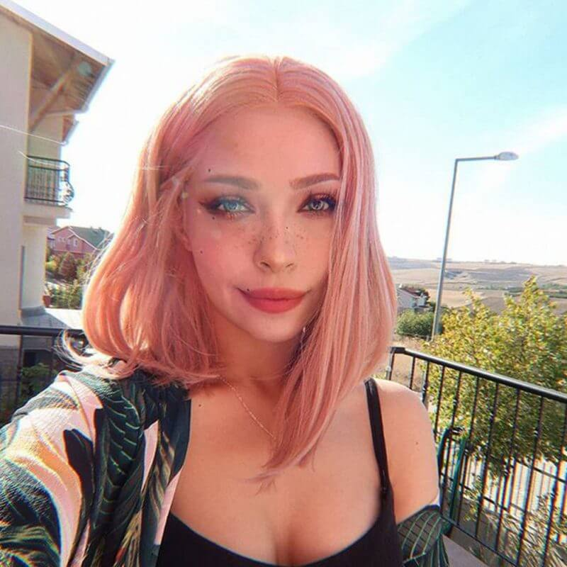 Musegetes Peach Pink Bob Synthetic Lace Front Wig HS4005