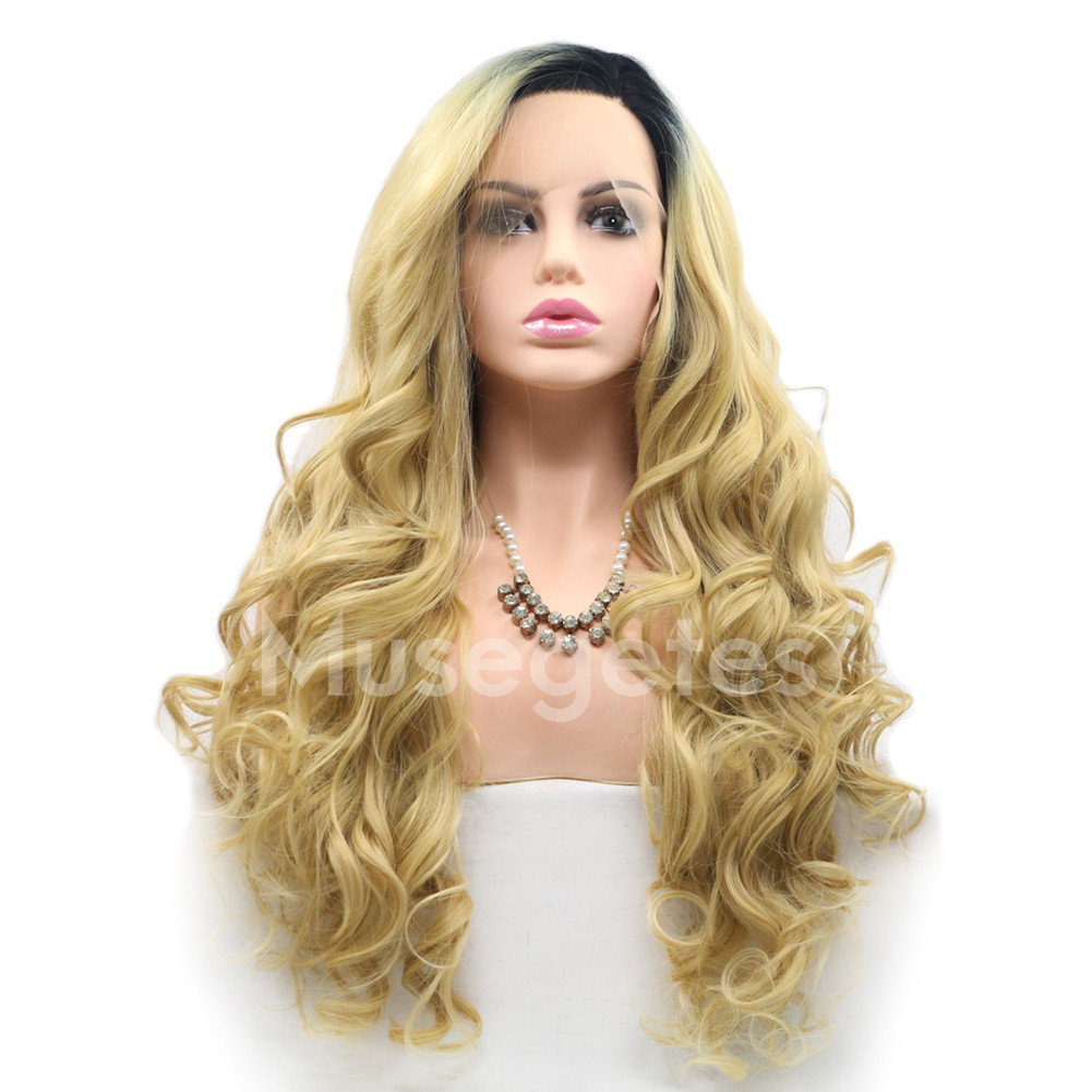 6d0ac1fb3b2 Ombre Blonde Wavy Synthetic Lace Front Wigs HS6001