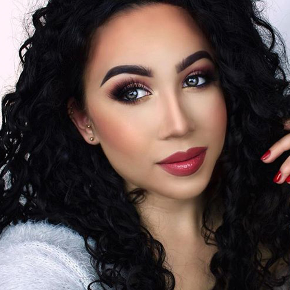 Musegetes Black Long Kinky Curly Synthetic Lace Front Wigs HS6051