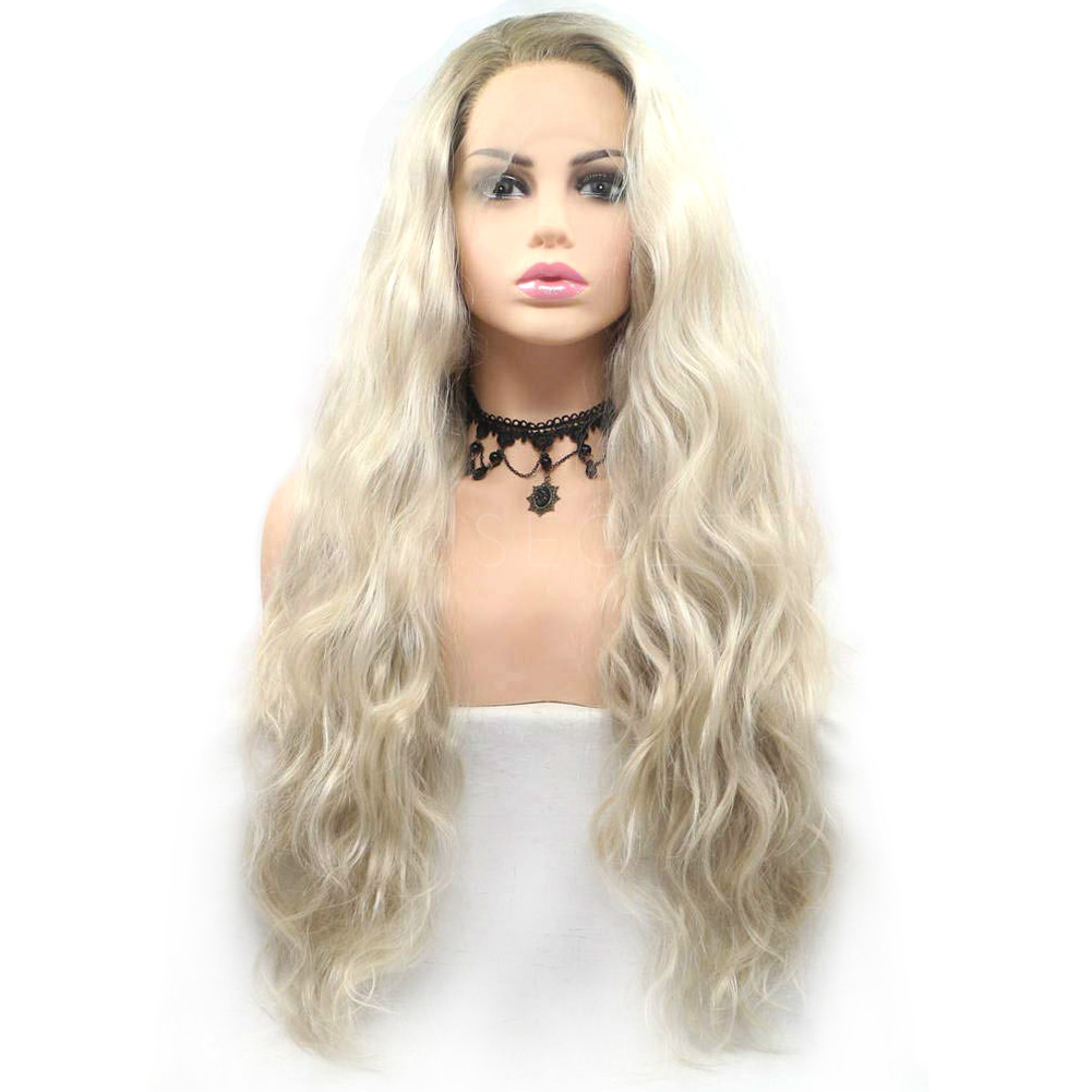 Ombre Platinum Blonde Long Curly Synthetic Lace Front Wigs Hs6075 Musegetes
